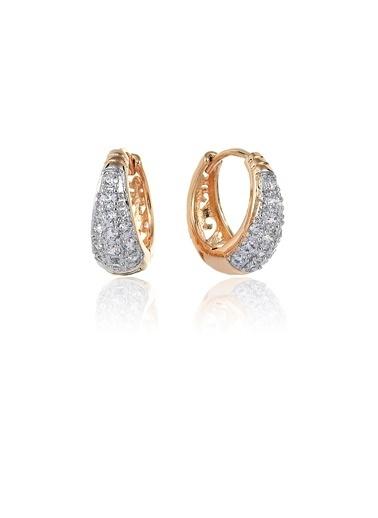Tophills Diamond Co. 0,50 Ct Pırlanta Efekt  Altın Dione Hoop Küpe Renkli